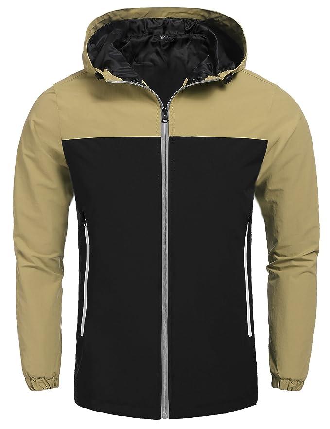 5c36fd3388 Coofandy Waterproof Jacket Mens Raincoats New Design Outdoor Hooded ...
