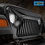 EAG TJ Gladiator Vader Front Grille Overlay Upper Grill Cover No Paint Black for 97-