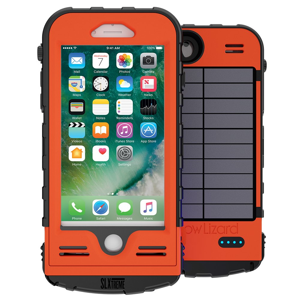 SnowLizard SLXtreme iPhone 8 Case. Solar Powered, Rugged and Waterproof with a built in Battery - Signal Orange by Snow Lizard Products