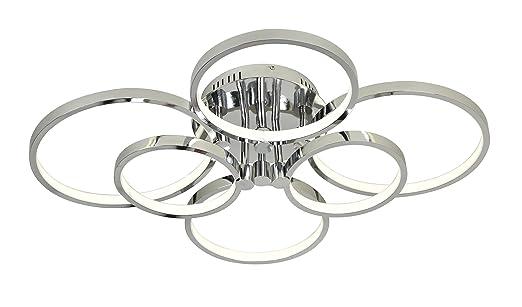 Deckenleuchte LED Deckenlampe Wohnzimmerlampe Chrom 6 Ringe 4000K 9600lm