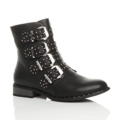 Women's Low Heel Studded Buckle Biker Ankle Boots Size