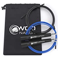WOD Nation Speed Jump Rope - Blazing Fast Jumping Ropes - Endurance Workout for Boxing, MMA, Martial Arts or Just…