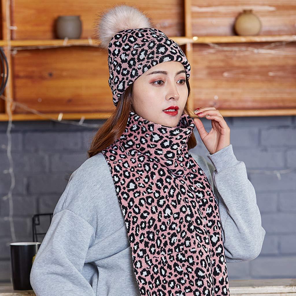 Haorw Kafen Damen Schal M/ütze 2 St/ück M/ützenm/ütze mit Reverskragen aus Strick Bedruckt Leopardenmuster 1