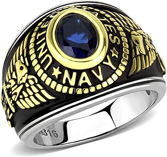 Free Engraving Included YVO Customizable Navy Ring Polished Stainless Steel or Gold Plating