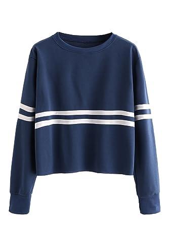 ef6575e54f40c3 ROMWE Damen Sportlich Pullover Herbst Winter Langarm Shirt Sweatshirt:  Amazon.de: Bekleidung