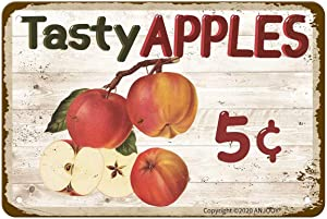 """Retro Metal Tin Signs - Tasty Apples 5 Cents - Waterproof for Farmhouse Home Bars Restaurants Cafes Pubs Wall Decor Art 8""""x12"""""""