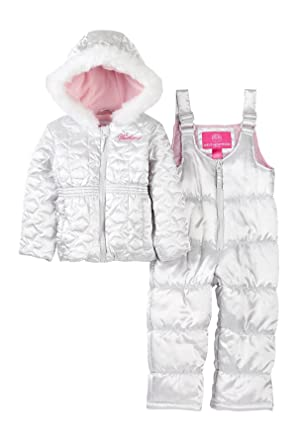 75def3af3 Weatherproof Baby Girls' Snowsuit and Star-Quilted Coat (12 Months, Silver)