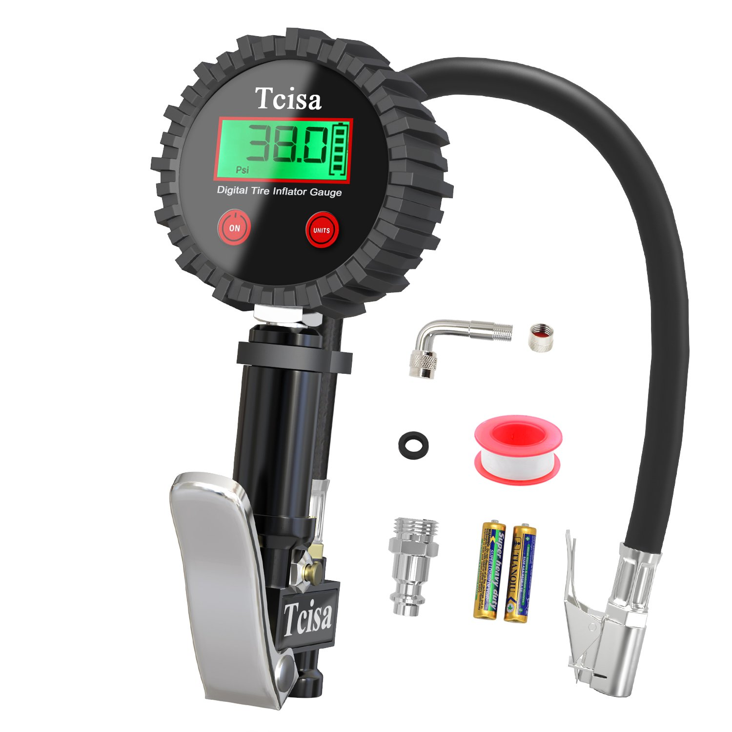 Digital Heavy Duty 200 PSI Air Pressure Gauge with Brass Air Chuck Valve Extender Rubber Air Hose Quick-Connect Fitting Tcisa Tire Inflator with Pressure Gauge