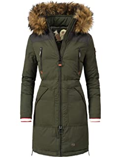 1 ODD MOLLY Damen Jacke beige rosé Baumwolle Kunstfell herausnehmbar Kapuze Gr