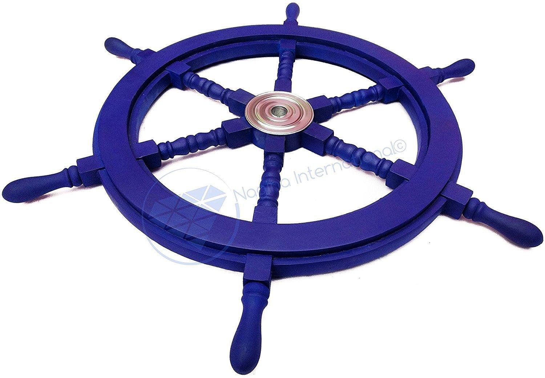 Nagina International(ナジャイナインターナショナル) Nautical高級ハンドクラフト木製操舵輪   海賊風家庭壁装飾&ギフト   , 16 Inches NWH002LB B01FVSRU7G 16 Inches ライトブルー ライトブルー 16 Inches