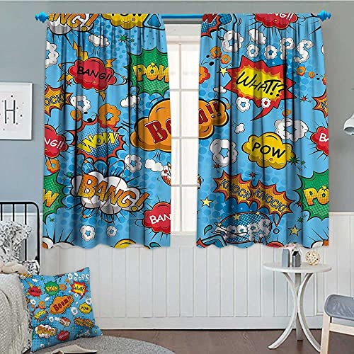 SeptSonne-Home Superhero Patterned Drape for Glass Door Colorful Comic Style Icons Effects Boom Scream Magazine Signs Pop Art Illustarion Waterproof Window Curtain 52 x63 Multicolor