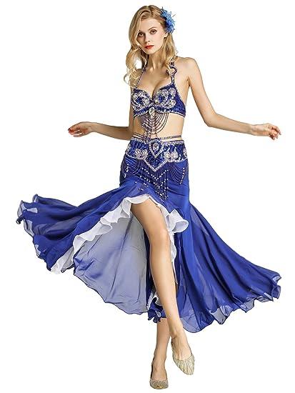 5c008eadbe Zengbang Women's Fishtail Skirt Belly Dance Performance Set Indian Dance  Bra Set Costume (Blue(
