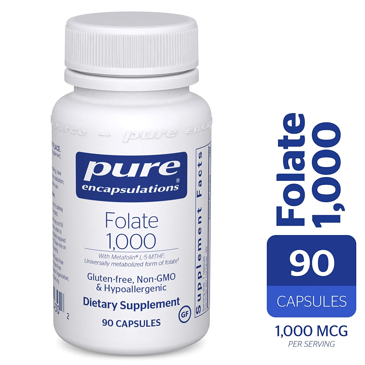 Pure Encapsulations – Folate 1000 – Hypoallergenic Supplement with Metafolin L-5-MTHF – 90 Capsules