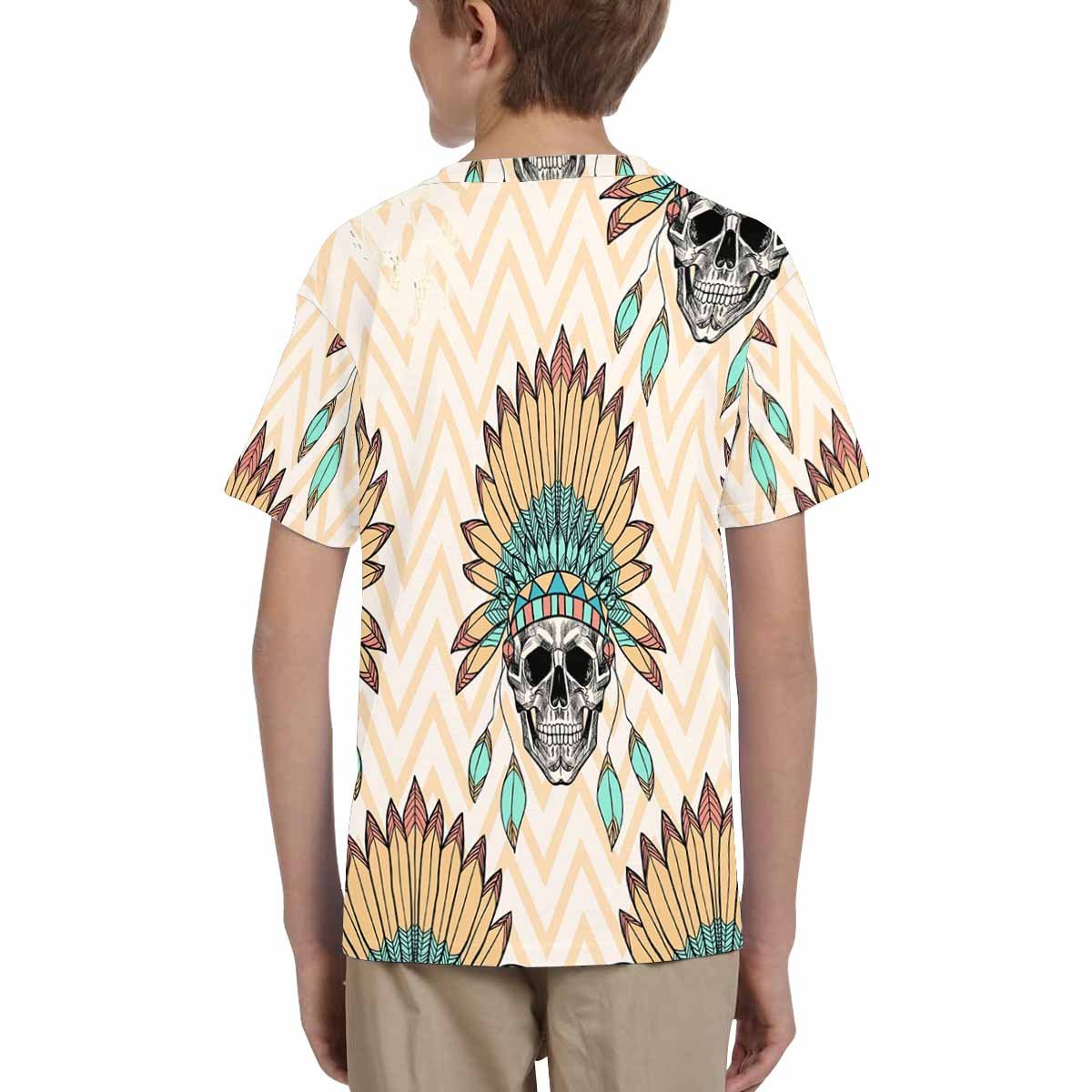 INTERESTPRINT Youth T-Shirts Skull with Indian Feather Hat XS-XL