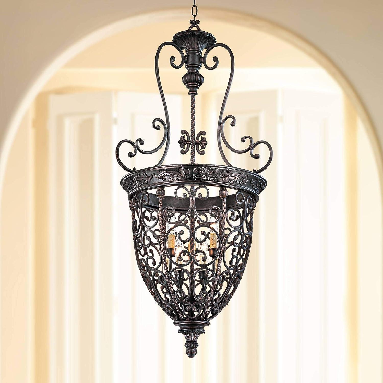 "French Scroll 22 1/2""W 9-Light Bronze Iron Foyer Chandelier"