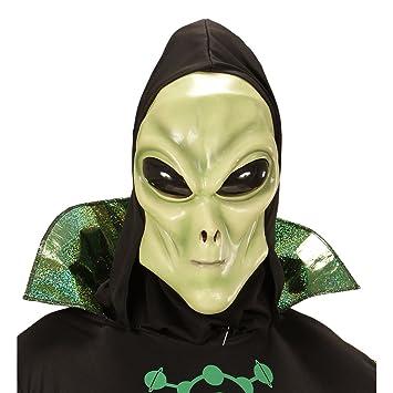 Careta alien Máscara látex extraterrestre con capucha y ojos Antifaz carnaval marciano Careta hombre de Marte