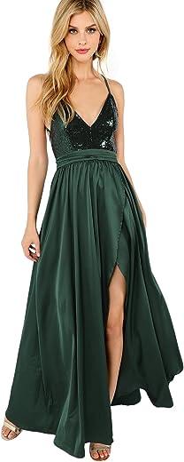 فستان سهرة طويل من SheIn نسائي جذاب برقبة على شكل حرف V مكشوف الظهر للحفلات