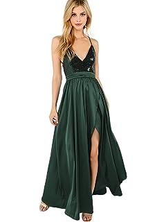 9327a081bc7 SheIn Women s Sexy Satin Deep V Neck Backless Maxi Party Evening Dress