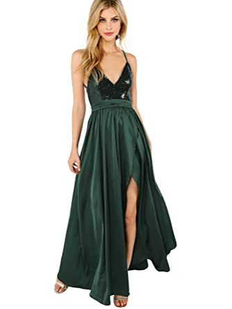 8c52c1b47fb6df SheIn Women s Sexy Satin Deep V Neck Backless Maxi Party Evening Dress  Sequin Green X-