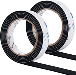 GINOYA 0.87in Furniture Pads Roll, 6.56ft x 2 Rolls Self Adhesive Felt Strips for Hardwood Floors to Prevent Scratches Soundproofing (Black)