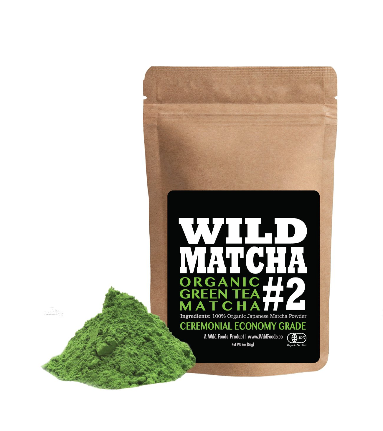 Organic Matcha Green Tea Powder, Wild Matcha #2 Ceremonial Grade, Authentic Japanese Matcha Grown In The Mountains of Kyoto, Japan, JAS Certified Organic (2 ounce)
