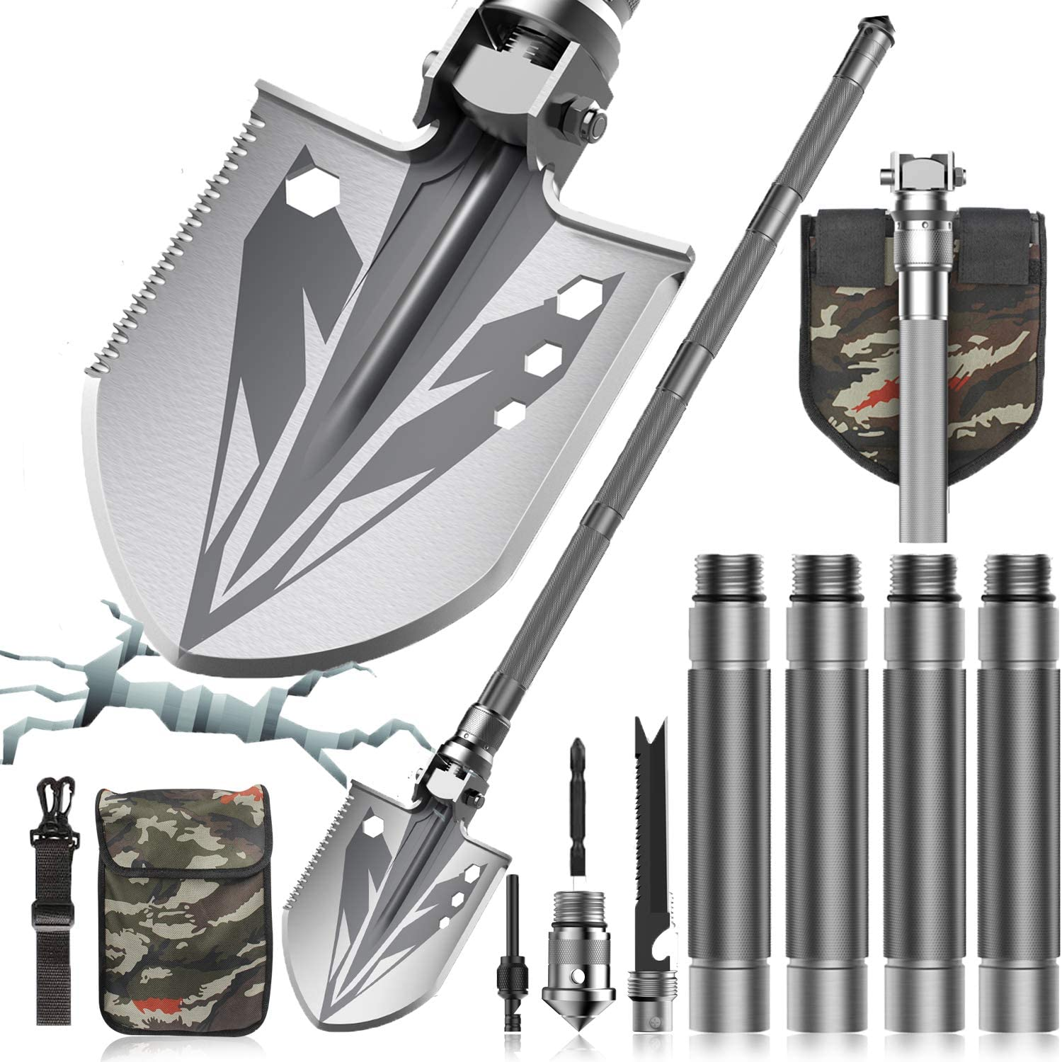 Survival Shovel, Tactical Shovel by Sallia- Survival Shovel Multitool - Ultimate Survival Tool - Camping Shovel, Folding Shovel - Survival Shovel Multifunctional, 37.6in Shovel