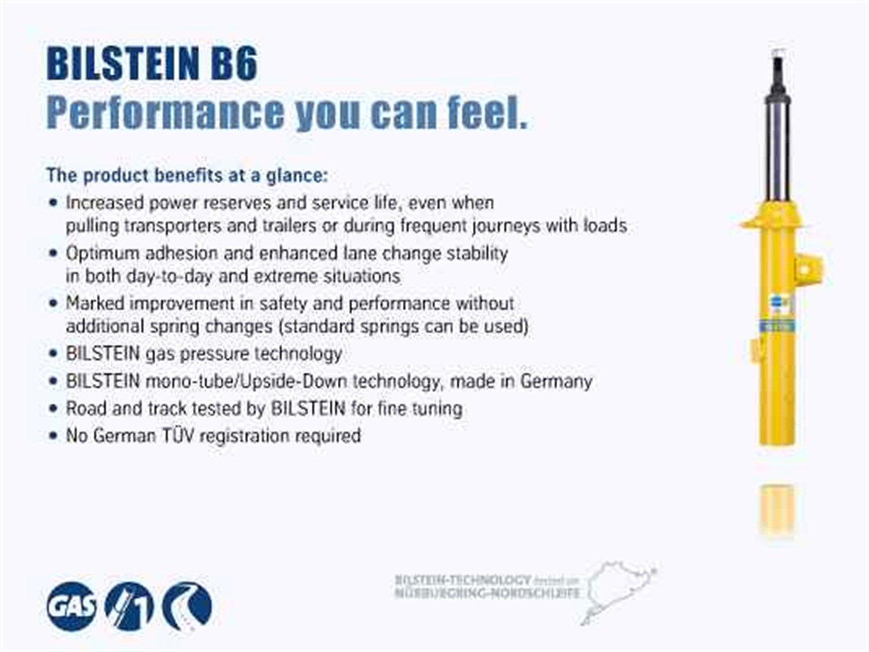 Bilstein 24-276801 B6 4600 Shock Absorber 14mm Eye Upper/14mm Eye Lower Mounting Monotube Yellow Boot Incl. B6 4600 Shock Absorber by Bilstein