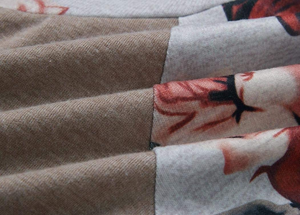 Joe Wenko Womens Raglan Sleeve Printed Loose Drawstring Pullover Hooded Sweatshirts