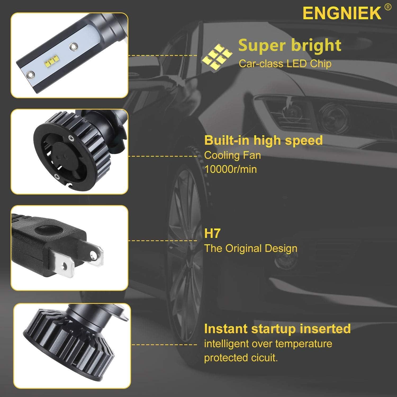 H7+H7 H11 LED Headlight High Low and Fog Beam Bulbs Kit for Audi A4 2004-2002