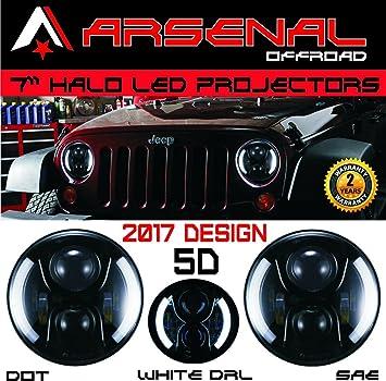 "LED Projector Headlight 7/""60W Halo DRL Angel Eyes Fit For Jeep Wrangler JK TJ 1*"