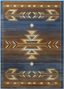Masada Rugs, Southwest Native American, Area Rug (4 Feet X 5 Feet), Blue