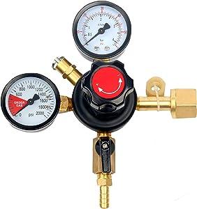 FamYun Dual Gauge Co2 Draft Beer Dispensing Regulator - Primary High Pressure Double Gauge Mixed Gas Co2 Regulator CGA320
