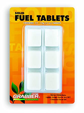 Grabber Outdoors Solid Hexamine Fuel Tablets- High Performance, 12-Count