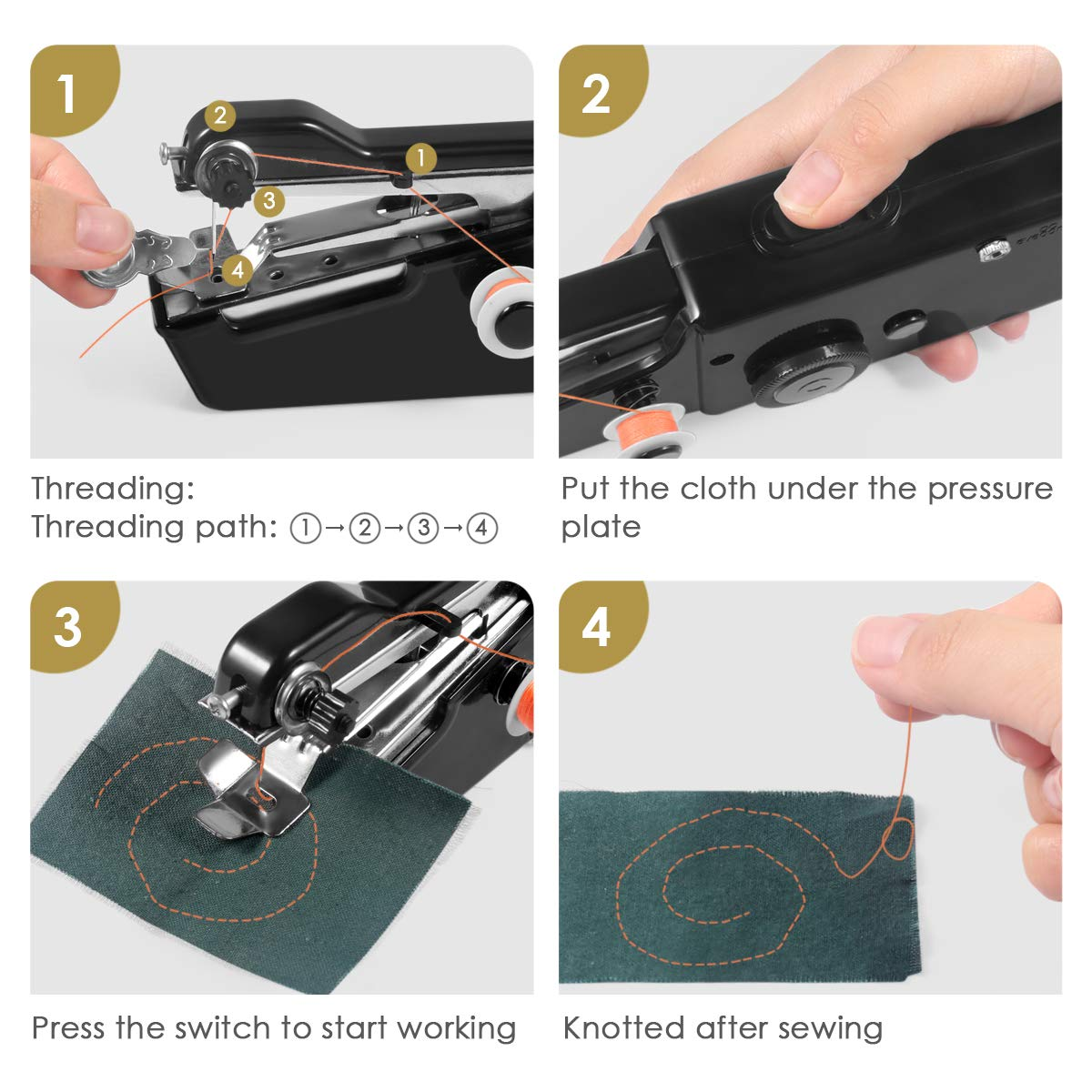 Handheld Sewing Machine,Cordless Portable Electric Sewing Machine Black Clothing Quick Handy Stitch for Fabric Kids Cloth