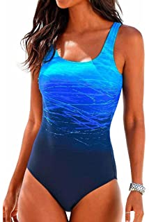 139f5182577 Upopby Women s Athletic Crisscross Printed One Piece Swimsuits Padded Swimwear  Bathing Suits