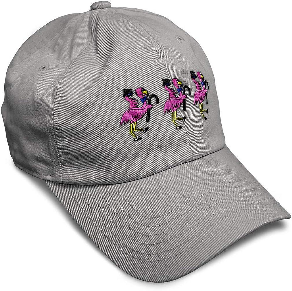 Custom Soft Baseball Cap Dancing Pink Flamingos Embroidery Twill Cotton