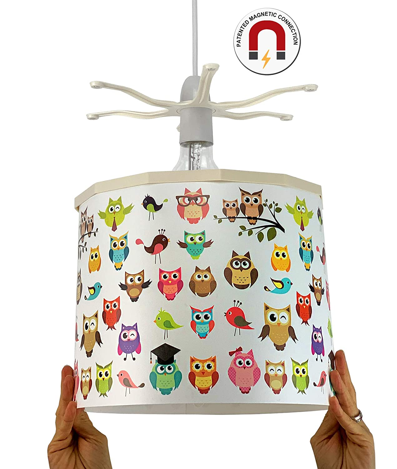 Purple Owl Droplet Ceiling Pendant Light Shade Girls Childrens Bedroom Lampshade