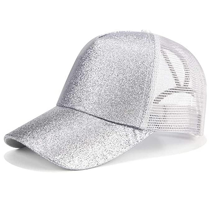 c5be7752a 2019 Glitter Ponytail Baseball Cap Women Snapback Dad Hat Mesh ...