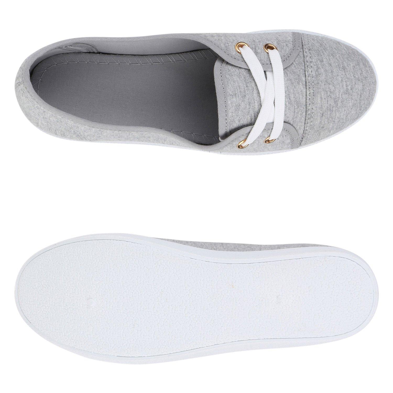 79eac19a703 Stiefelparadies Mujer Manoletinas Deportivas 141323 Gris Claro Blanco 37  Flandell  Amazon.es  Zapatos y complementos