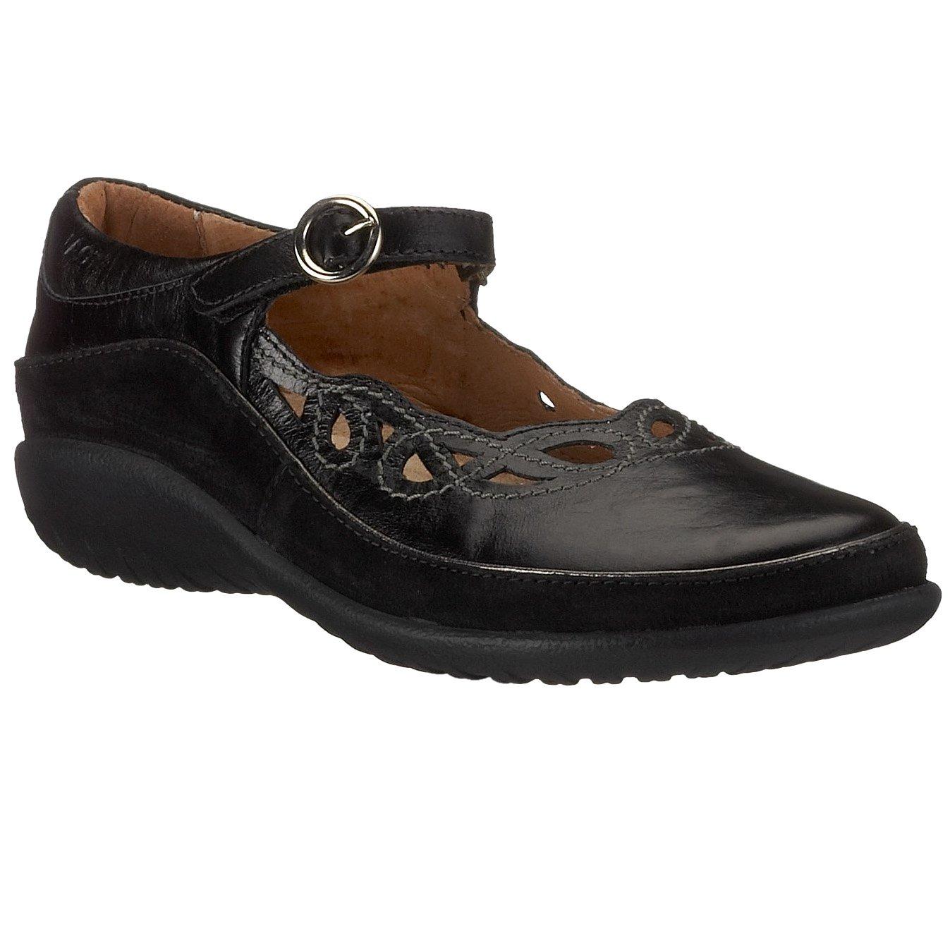 Naot Women's Rahina Mary Jane Flat, Black Leather/Black Suede, 37 EU/6-6.5 M US by NAOT
