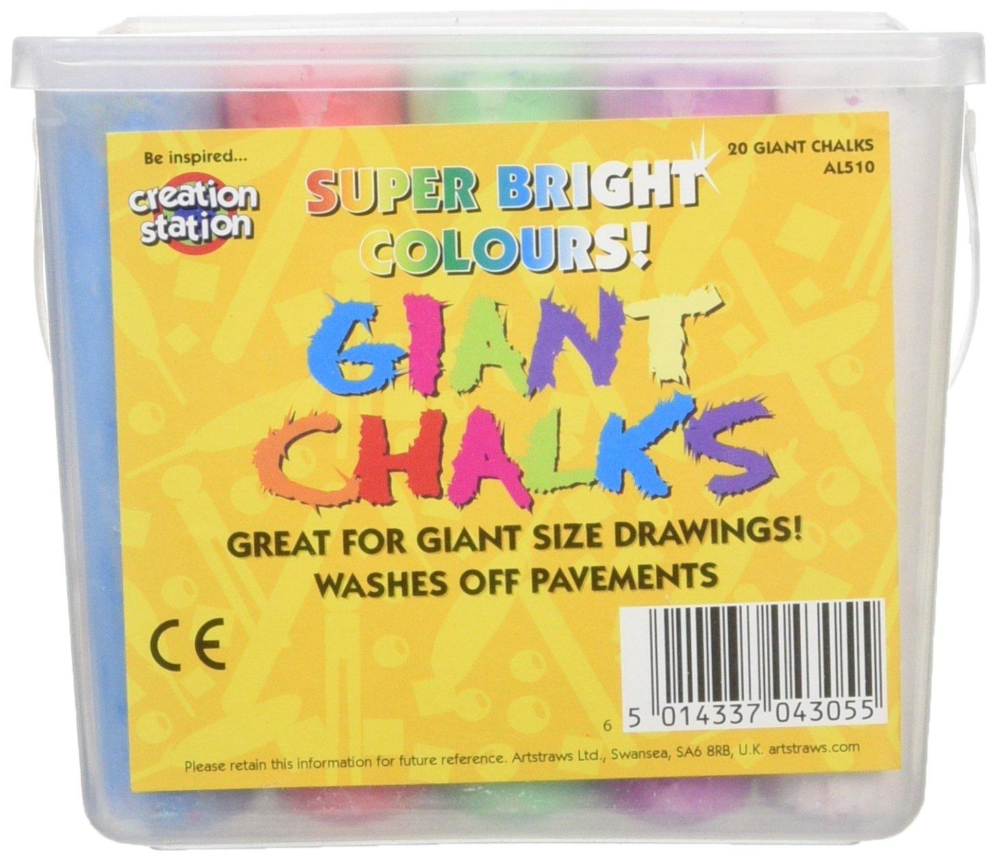 Artstraws Ltd AL510, Tizas gigantes, Colores surtidos, Pack de 20 piezas