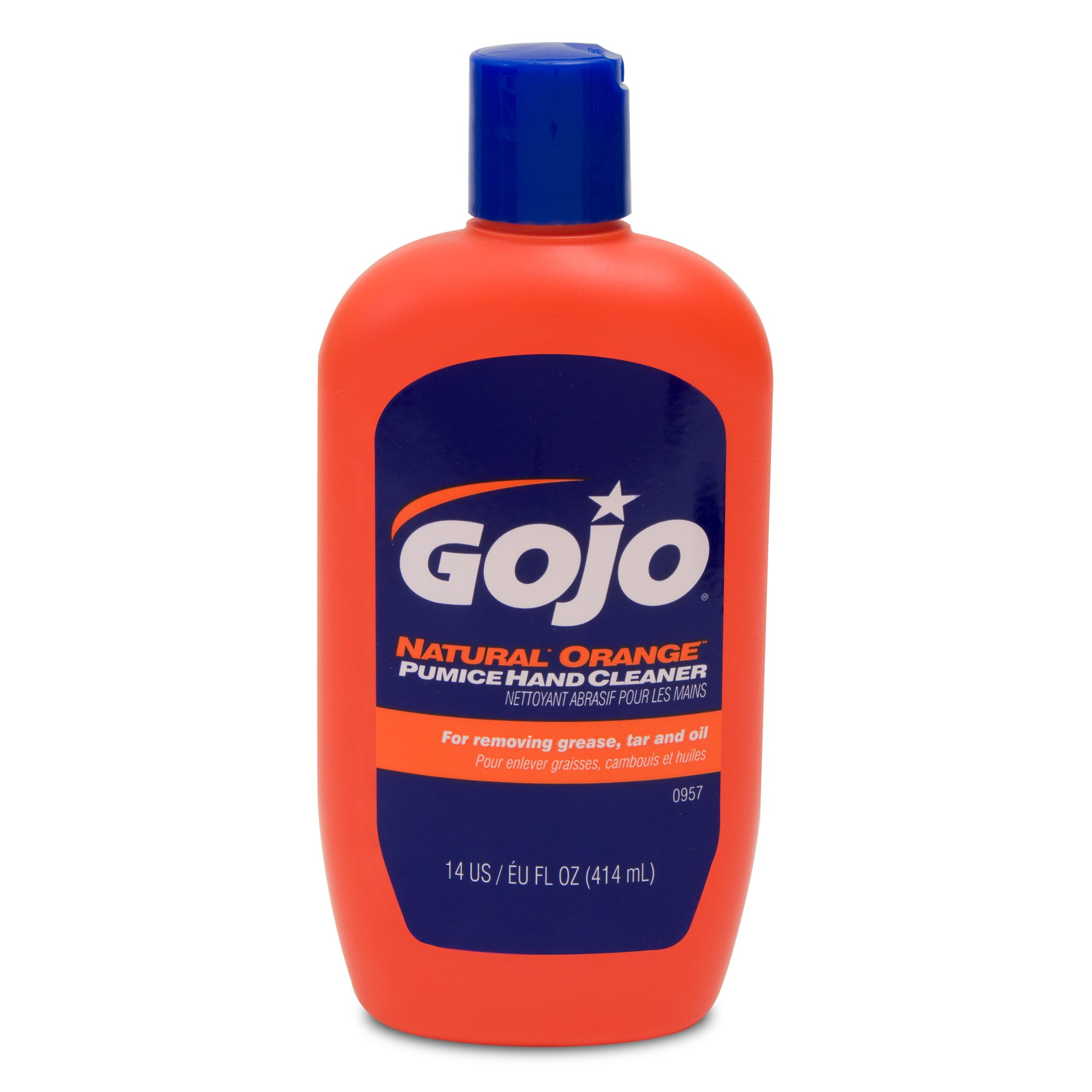 GOJO NATURAL ORANGE Pumice Hand Cleaner, 14 fl oz Quick-Acting Lotion Cleaner Squeeze Bottle (0957-12)