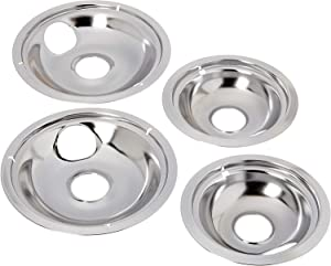 "Edgewater Parts (2) 316048414 6"" Drip Pan + (2) 316048413 8"" Drip Pan Set Compatible with Frigidaire, Kenmore, Tappan, Crosley, Westinghouse, Gibson, Kelvinator, and Uni Cooktops and Ranges"