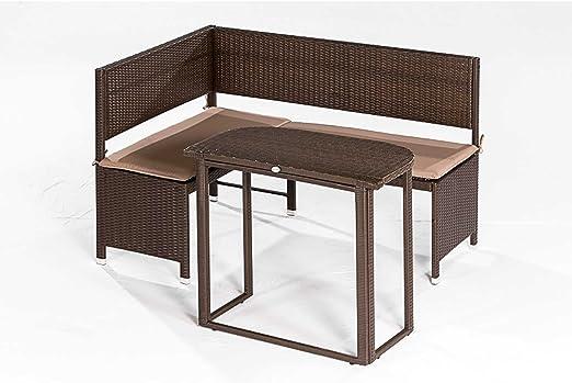 Esquina Banco Set Graz de 2 piezas, banco rinconera + mesa plegable, acero + Polirratán, Mocca Banco de jardín muebles de jardín: Amazon.es: Jardín