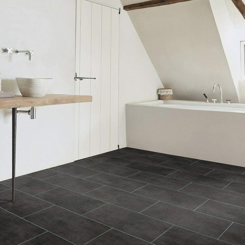 PVC Bodenbelag Fliese Schwarz mit Textilr/ücken Breite: 200 cm x L/änge: 150 cm 16,95 /€ p. m/²