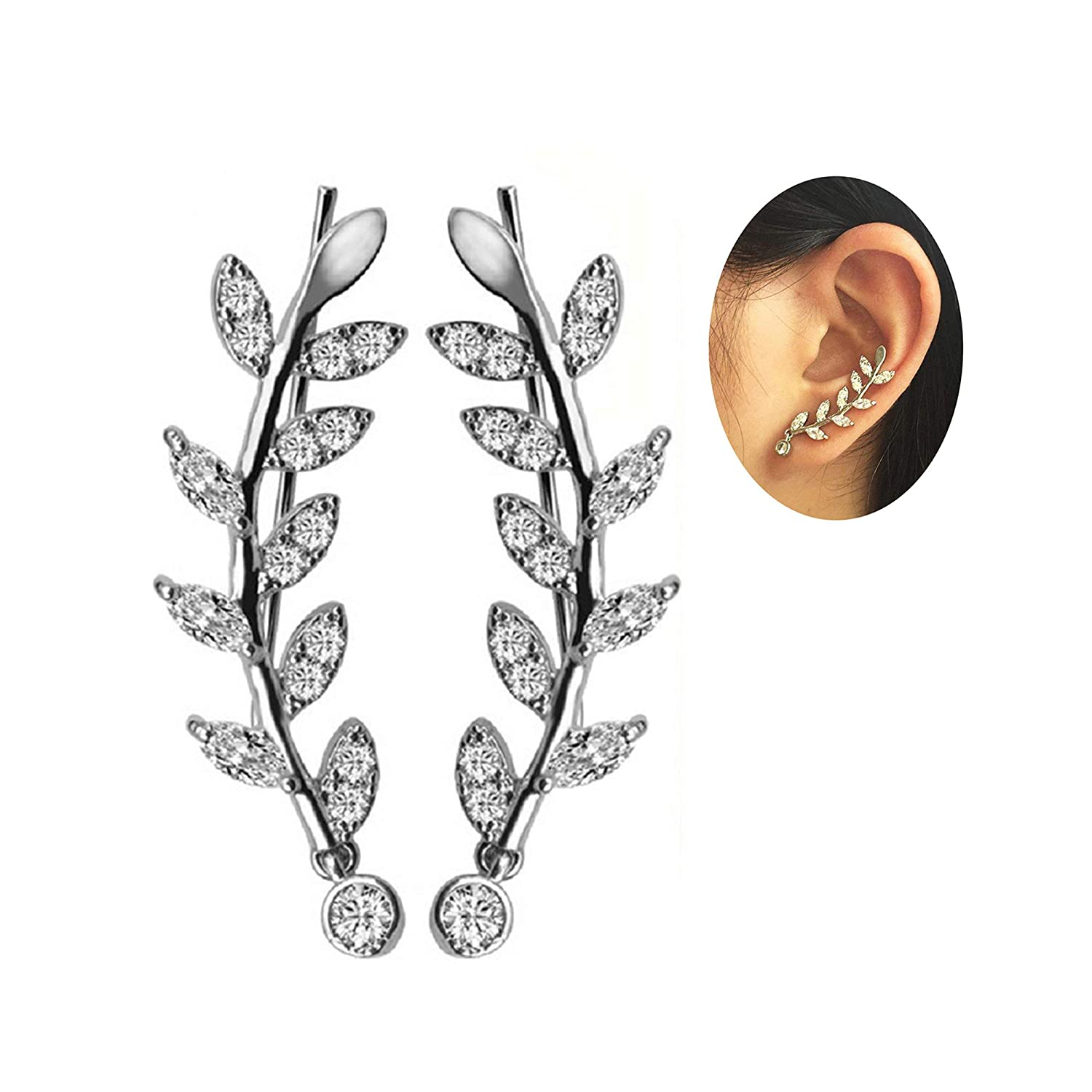 dedab5dfc93 Amazon.com: New Arrival Ear Crawler Cuff Earrings 14k White Gold Over Sterling  Silver Climber Studs Olive Leaf for Women Teen Girls(Olive Leaf A): Jewelry