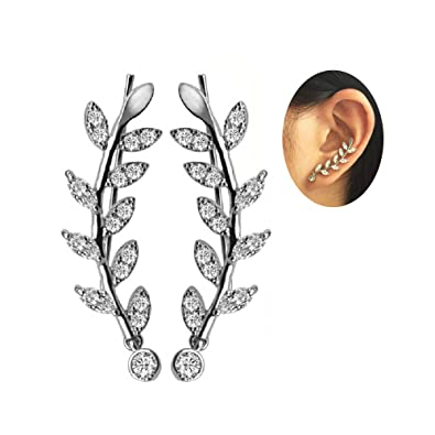 9e5860b5c9060 New Arrival Ear Crawler Cuff Earrings 14k White Gold Over Sterling Silver  Climber Studs Olive Leaf for Women Teen Girls