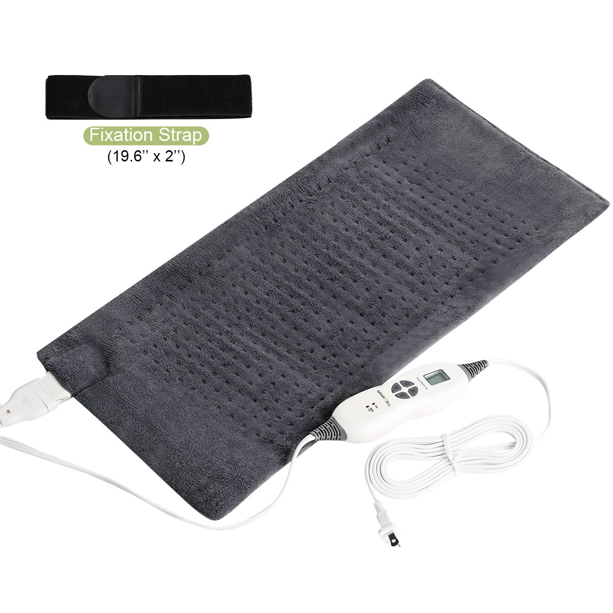 SanaWell Extra Large Electric Heating Pad with Auto Shut Off Moist Heat Therapy For Neck Shoulder and Back Pain Relief Included Fixation Strap King Size 12'' x 24'' - Charcoal Gray by SanaWell