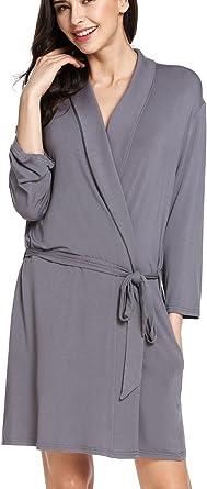 adomer Mujer Albornoz Batas Kimono Invierno Algodón Encaje con Correa(Gris XXL): Amazon.es: Ropa y accesorios