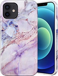Caka Marble Case for iPhone 12 Pro, iPhone 12 Marble Case Protective Slim Shockproof Bumper for Girls Women Cute Soft Rubber TPU Marble Phone Case for iPhone 12 12 Pro (6.1 inches) (Pink1)